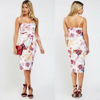 Floral Printed Strappy Evening Occasion Midi Wiggle Dress Sizes UK 8-16