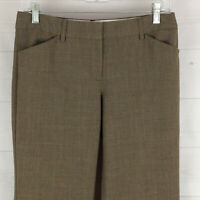 Express Editor womens size 4S x 29 stretch brown flat front flare career pants