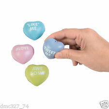 12 VALENTINE'S DAY Party Favors MINI CONVERSATION HEART Foam STRESS BALLS Toys