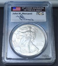 2013 Silver Eagle Coin First Strike MS70 PCGS Signed John M Mercanti
