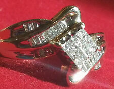 Diamond Cocktail Ring 14k YG .42ctw  16 Princess Cuts surrounded by 20 baguettes