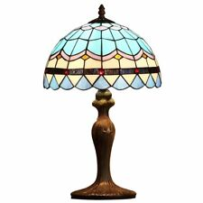 Bieye Mediterranean Tiffany Style Stained Glass Table Lamp with Metal Base
