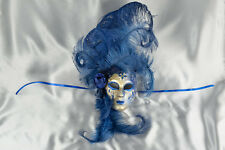 Volto Fiore - Blue and Gold Feathered Venetian Wall Mask