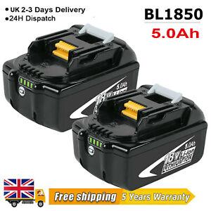 2 Pack For Makita Battery BL1850 BL1860 LXT 18V Li-ion 5.0ah Battery BL1830 LED