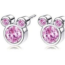 Minnie/mickey Mouse  pink crystal earrings (breast cancer charity fundraiser)
