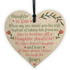 Daughter In Law Birthday Christmas GIFTS Wooden Heart Plaque Mum Son