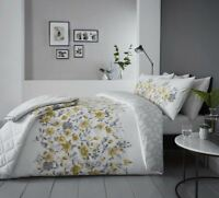 FLORAL WATERCOLOUR-STYLE YELLOW COTTON BLEND SINGLE 3 PIECE BEDDING SET