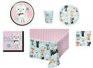 Plates, Napkins, Cups, Tablecloth Cat Themed Purr-Fect Birthday Party Supply Set