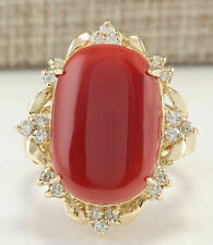 20.4CT Oval cut  NATURAL Coral REAL SOLID 14K Yellow Gold Diamond Ring
