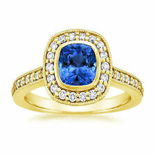 14K Yellow Gold 1.66 Ct Cushion Natural Blue Sapphire Natural Diamond Rings M P