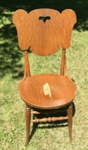 **Vintage ANTIQUE DINING CHAIR FLAMED MAPLE SCROLL CUT ROUND SEAT ELEPHANT HEAD