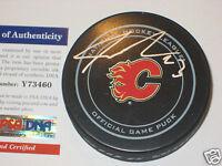 SEAN MONAHAN Signed Calgary FLAMES Official GAME Puck w/ PSA COA