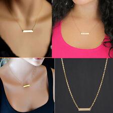 Fashion OL Horizontal Tube Noble Simple Bar Bone Pendant Necklace Gift Gold