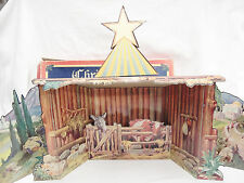 Christmas Crib Cardboard Paper Nativity Stable Creche Background Condordia Vtg