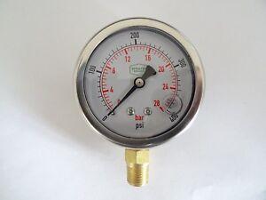 """0-400 psi 63 mm Glycerine Filled Pressure Gauge 1/4"""" Bottom Entry"""