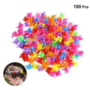 100Pcs Butterfly Hair Clip Claw Barrettes Mixed Color Hair Mini Jaw Clip Hairpin