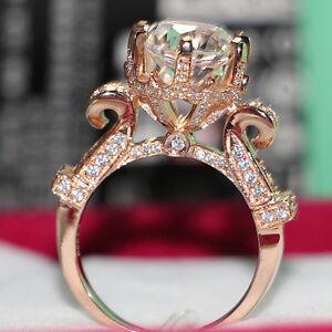 Solid 14K Rose Gold Rings 2CT Luxury Moissanite Diamond Women Wedding Fine Ring