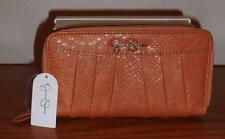 JESSICA SIMPSON SUNTAN PATTY SNAKESKIN-EMB. DOUBLE ZIP AROUND CLUTCH/WALLET-BNWT