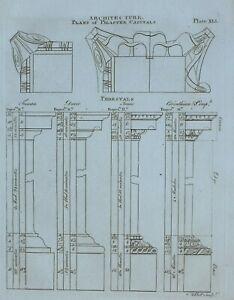 1797 ORIGINAL PRINT ARCHITECTURE PLANS OF PILASTER CAPITALS PEDESTALS TUSCAN