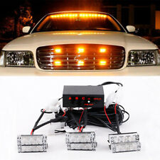 Amber 18LED Car Emergency Vehicle Strobe Flash Light Bar for Front Grille Deck