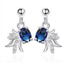 Damen Ohrring Ohrstecker Blüte Zirkonia blau pl. mit Sterlingsilber DOS036-A