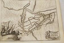 PLAN VILLE DE GAND GRAVURE 1743  BELGIQUE OLD ETCHING PRINT R578