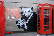 Banksy Rat Camera Red Phone Box London  Canvas Art