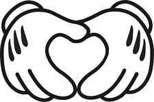 MICKEY HANDS HEART STICKER  CAR WINDOW BUMPER SCOOTER STICKER DECAL