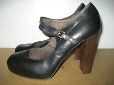 Joie 100% Leather Black High Heel Mary Jane Pumps Italy Euro 39.5 US 8.5