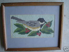 Vintage Robin Bird Needlepoint Textile Art Framed