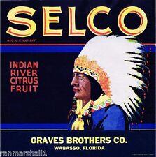 Wabasso Florida Selco #2 Orange Citrus Fruit Crate Label Art Print