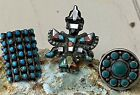 Highly Collectible Lot 3 Old Pawn Zuni & Navajo Sterling Turquoise Ring Sz 6.25+
