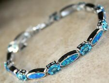Silver Elegant Blue Fire Opal & Sky Blue Topaz Bracelet