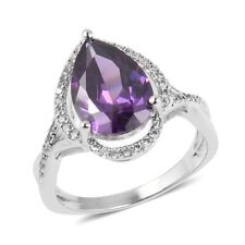 Simulated Amethyst, Simulated White Diamond Silver-tone Ring Size 11 TGW 4.17