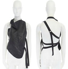 new ANN DEMEULEMEESTER black leather draped neck stitch strappy harness top M
