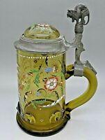 Rare MOSER Antique Hand Painted Enamel Art Glass Tankard w/ Cat Handle RARE 1899