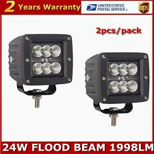 2X 24W CREE LED Work Light Flood Beam 10-30V DC Off-road Boat ATV Lamp 3inch WS