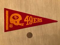 "VINTAGE 1960s-1970s SAN FRANCISCO 49ers NFL FOOTBALL MINI PENNANT 9-1/4"" STIFF"