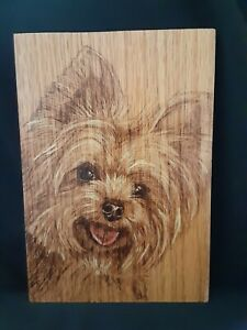 Yorkie Face - hand made, wood burnt picture on oak