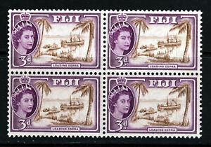FIJI Queen Elizabeth II 1956 3d. Brown & Reddish-Violet BLOCK OF FOUR SG 285 MNH
