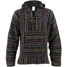 Mexican Baja Jerga black and multi coloured hooded hippie top
