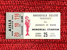 Rare 1965 University of Mexico - Bakersfield College Renegades Football Ticket