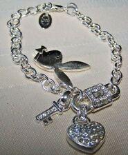 "Playboy Bracelet Bunny Silver Multi Charm Enamel Swarovski Crystal 7.5"""