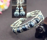 Tibetan Silver Bangle Snowflake Obsidian Bead Woman Bracelet Earrings Set