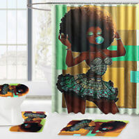 US 180x180cm African Fashion Girl Shower Curtain Bathroom Toilet Mat   ❤ New