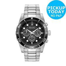 Bulova Men's Black Dial Stainless Steel Water Resistant Chronograph Quartz Watch