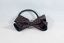 Unit of 10 Medium 3 Inch Black with Small Red spots Hair Bows elastics Grosgrain
