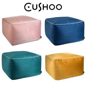 Velvet Square Footstool Bean Bag Navy Blue Yellow Pink Floor Cushion Pouffe