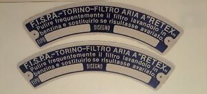 FISPA air cleaner stickers- Maserati 3500GT, Ferrari 250, 365