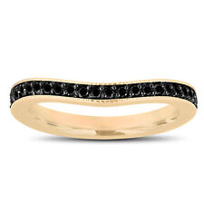Fancy Enhanced Black Diamonds Curve Matching Wedding Band 14K Yellow Gold 0.23Ct